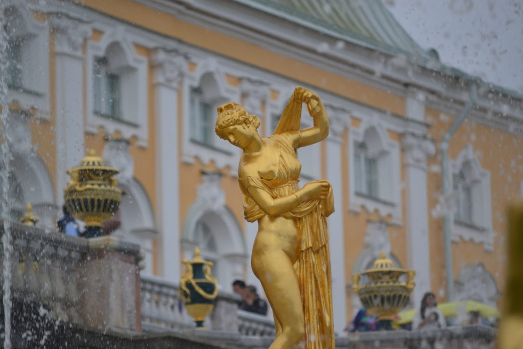 golden statue in Peterhof Palace